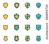 trendy flat line icon pack for... | Shutterstock .eps vector #386894734