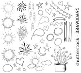 collection of 47 sketched retro ... | Shutterstock .eps vector #386900695
