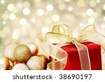 red christmas gift box and... | Shutterstock . vector #38690197