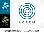 labyrinth abstract logo. puzzle ... | Shutterstock .eps vector #386903425
