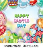 border design with easter theme ... | Shutterstock .eps vector #386918521