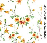 seamless pattern with flowers... | Shutterstock . vector #386928739