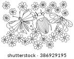 Vector Doodle Flowers In Black...