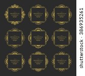 calligraphic frame design... | Shutterstock .eps vector #386935261