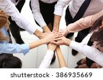 top view of young people... | Shutterstock . vector #386935669