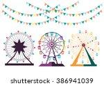 set of ferris wheel from... | Shutterstock .eps vector #386941039
