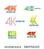 4k ultra hd badge label icon | Shutterstock .eps vector #386946265