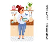 a girl cooking pancakes in a... | Shutterstock .eps vector #386956831
