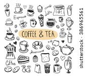 cute doodle coffee shop icons.... | Shutterstock .eps vector #386965561
