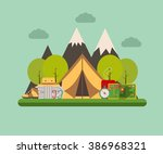 hiking and climbing concept... | Shutterstock .eps vector #386968321