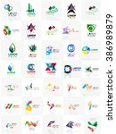 mega set of paper logo abstract ... | Shutterstock .eps vector #386989879