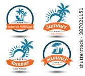 summer holidays design elements ... | Shutterstock .eps vector #387021151