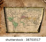 ancient map of the world. the... | Shutterstock . vector #38703517