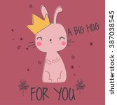 cute bunny illustration for...   Shutterstock .eps vector #387038545