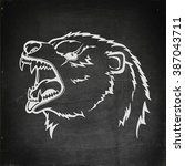 chalk drawn angry animal with... | Shutterstock .eps vector #387043711