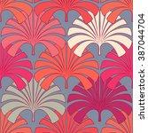 tropical line art seamless... | Shutterstock .eps vector #387044704