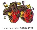 hand drawn decorative strawberry | Shutterstock .eps vector #387045097