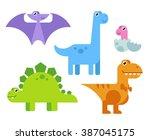 cute cartoon dinosaurs set in... | Shutterstock . vector #387045175