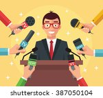press conference. vector flat... | Shutterstock .eps vector #387050104