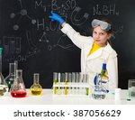 schoolgirl in chemistry lab in... | Shutterstock . vector #387056629