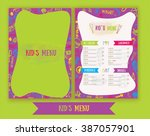 kids menu cute colorful hand... | Shutterstock .eps vector #387057901