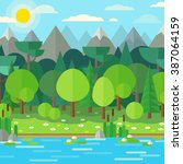 forest landscape in a flat... | Shutterstock .eps vector #387064159