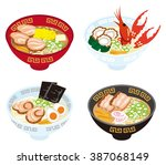 four japanese ramen noodles | Shutterstock .eps vector #387068149