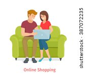 man and woman doing online... | Shutterstock .eps vector #387072235