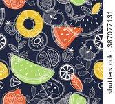 fruit seamless pattern.... | Shutterstock .eps vector #387077131