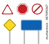 blank road sign with pole | Shutterstock .eps vector #387090367