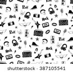 seamless pattern. punk rock... | Shutterstock .eps vector #387105541