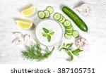 tzatziki sauce ingredients.... | Shutterstock . vector #387105751