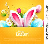 easter greeting card with...   Shutterstock .eps vector #387109684