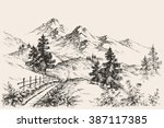 a path in the mountains sketch | Shutterstock .eps vector #387117385