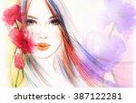 woman portrait .abstract... | Shutterstock . vector #387122281