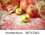 Christmas Background / Holiday Decorations with  baubles and ribbons - stock photo