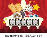 popcorn box film strip ticket... | Shutterstock .eps vector #387124669