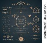 vintage set of decorative... | Shutterstock . vector #387135454