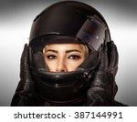 closeup portrait of beautiful... | Shutterstock . vector #387144991