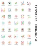 set of linear logotypes ... | Shutterstock . vector #387152161