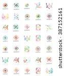 set of linear logotypes ... | Shutterstock . vector #387152161