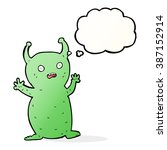 cartoon funny little alien with ... | Shutterstock .eps vector #387152914