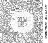 hand drawn social network... | Shutterstock .eps vector #387166429