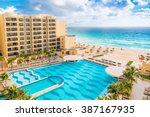 Small photo of CANCUN, MEXICO - December 22, 2014: Luxury all-inclusive The Royal Sands resort with beautiful beach and swimming pool.