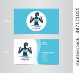 fitness woman business card | Shutterstock .eps vector #387171025