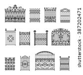Decorative black white fences set with gates flat isolated vector illustration
