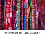 different colorful fabrics on... | Shutterstock . vector #387208654