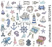 hand drawn doodle boat and sea... | Shutterstock .eps vector #387210991