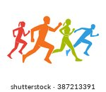 colored silhouettes of runners. ... | Shutterstock .eps vector #387213391