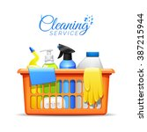 household cleaning products and ... | Shutterstock .eps vector #387215944